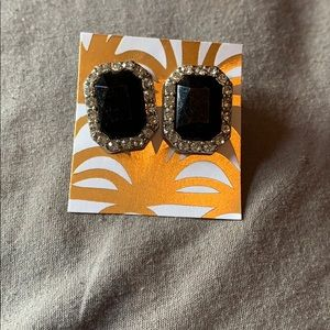 (3/$20) Black Studs with silver gems Earrings